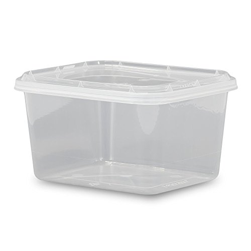 12 oz. Food Grade 4 x 5 Rectangular Container with Lid - Clarified - 10 Pack