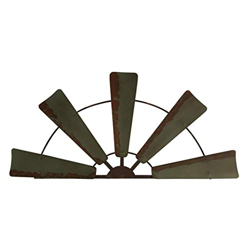 (Windmill Wall Decor, Semicircle Half Wind Mill Sculpture Olive Green Blades Antique Rust Finish, Rustic Farmhouse Chic Living Room Country Charm Yard Garden Art Decoration 30