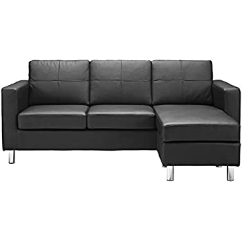 Modern Bonded Leather Sectional Sofa - Small Space Configurable Couch - Colors Black, White (Black)