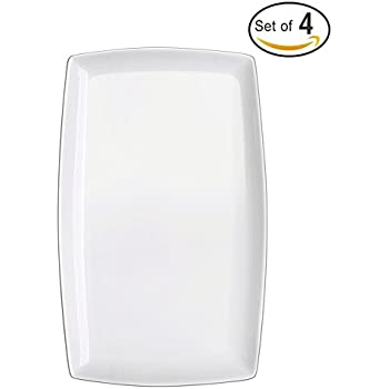 DOWAN 10-inch Porcelain Serving Platter/Rectangular Plates, Set of 4, White