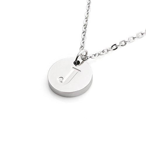 (Yiyangjewelry J Necklace for Women Personalized Inital Disc Pendant Birthday Gifts for Her)