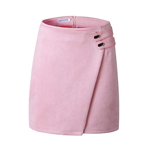 VKOOVIFA Women's High Waist Faux Suede Zipper Back A-Line Bodycon Short Mini Skirts Pink Large. - Clothes A-line