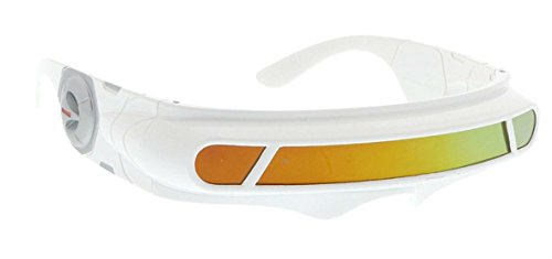 Costume Robot Alien (WebDeals - Futuristic Cyclops Wrap Around Monoblock Shield Sunglasses (White, Red/Orange)