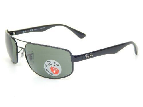 Ray Ban RB3445 002/58 Black/Crystal Green Polarized 61mm - Rb3445 Polarized