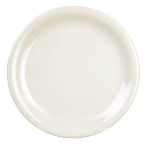 Excellanté Ivory Melamine Collection 9-Inch Narrow Rim Round Plate, Ivory, - Plate Narrow Round Rim