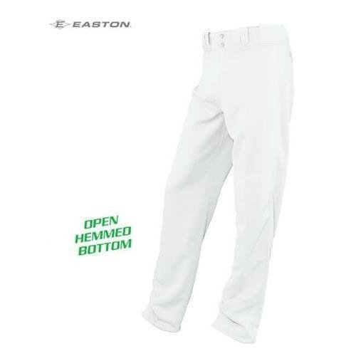 White Adult Small Easton Open Hemmed Bottom Youth & Adult Baseball/Softball Pants (Long, Covering Socks to Cleats Look)