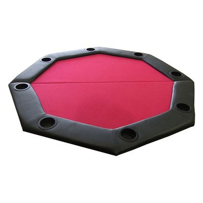 Padded Octagon Folding Poker Table Top Table Top: Red by JP Commerce