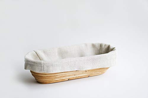 - Bread Banneton (Oval 13 x 5.5 x 3 inches) Willow Proofing Basket Handmade Eco Friendly Natural Wood Best Bakery Themed Gifts For Women With Linen Liner Covers