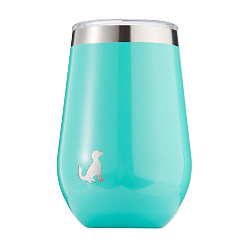 Pittsford Outfitters 12oz Wine Tumbler With Lid | 18/8 Stainless Steel, Double Walled, & Vacuum Insulated Stemless Portable Wine Glasses. Great for Travel, Outdoors, & Coffee too. (Turquoise) by Pittsford Outfitters