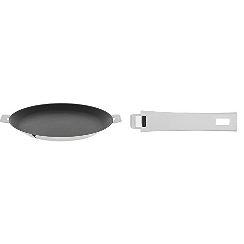 "Cristel CR30QE Non-Stick Crepe Pan, Silver, 12"" with Cristel Mutine Pmaw Handle, Long, White"
