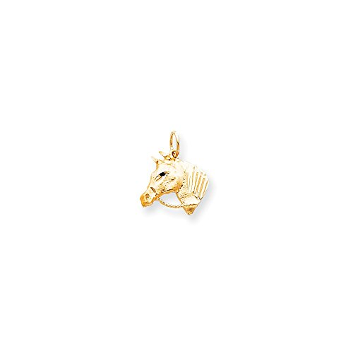 Brilliant Bijou Solid 10k Yellow Gold Solid Satin Horsehead with Reins Charm 20x26 mm