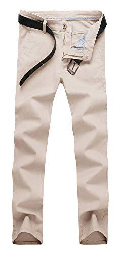 Plaid&Plain Men's Skinny Stretchy Khaki Pants Colored Pants Slim Fit Slacks Tapered Trousers 819 Beige 31X32