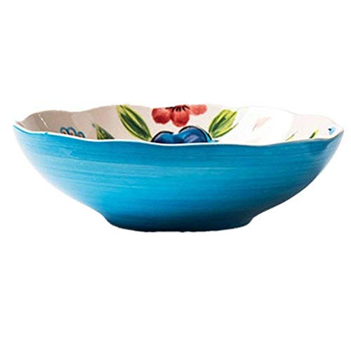 Hand Dessert Bowls Painted - Canju Kitchenware/Tableware/Outdoor/Camping Tableware Style Soup Fruit Salad Bowl Creative Hand Painted Pasta Noodle Cereal Dessert Bowls Ceramic Retro Mixing Serving Bowl Microwave Safe 7.3 Inches