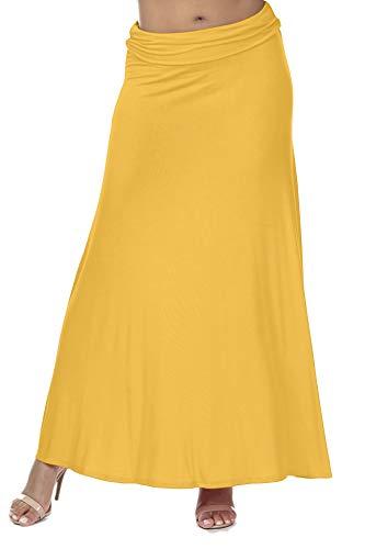 iliad USA 7003 Women's Casual Lightweight Floor Length Flare Long Maxi Skirt Mustard XL