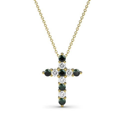 (TriJewels Petite Emerald and Diamond Cross Pendant 0.32 ctw in 14K Yellow Gold with 14K Gold)