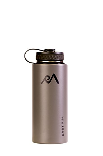 East Rim Vacuum Insulated Stainless Steel Wide Mouth Water Bottle, Dark Gray, 32 oz