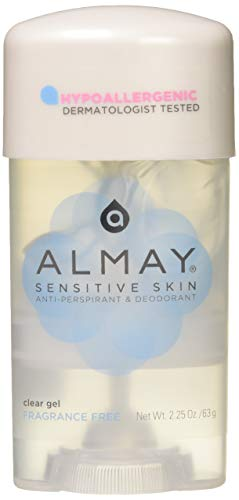 Hypoallergenic Clear Gel - Almay Clear Gel, Anti-Perspirant and Deodorant, Fragrance Free, 2.25-Ounce Stick (Pack of 3)