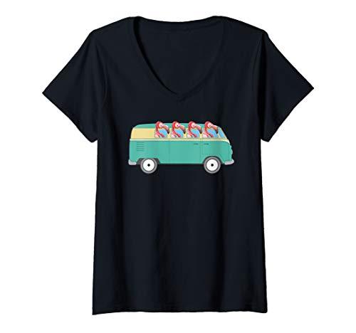 Womens Groovy Van Flamingo Hippie Bus Road Trip Bird V-Neck T-Shirt ()