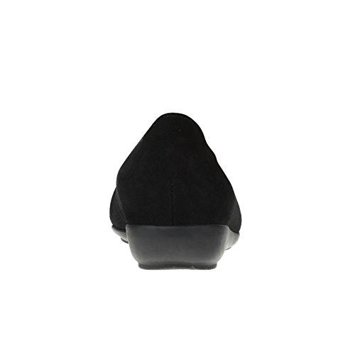 tessamino Damen Hausschuhe aus Veloursleder | klassisch | Weite H | für Einlagen Schwarz