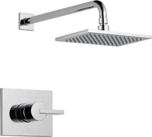 Delta Faucet Vero 14 Series Single-Function Shower Trim Kit with Single-Spray Touch-Clean Rain Shower Head, Chrome T14253 (Valve Not Included)