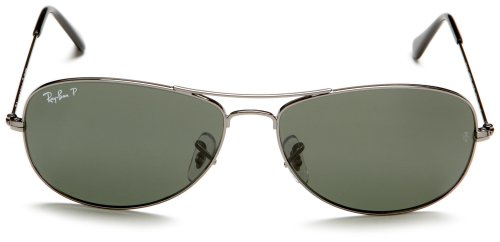 Amazon.com: Ray-Ban COCKPIT - GUNMETAL Frame CRYSTAL GREEN POLARIZED Lenses 59mm Polarized: Clothing