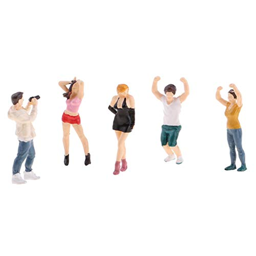 (Flameer 5PCs 1:64 Scale Resin Painted Figures, Standing People Layout for Playing Field Miniature Scenes, B)