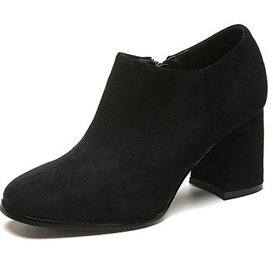 De UK5 Toe Zapatos Tacón Comodidad Mujer CN38 5 US7 EU38 Marrón 5 Señaló De RTRY De Suede Botas Cremallera Ocasional Negro Chunky Caída RP0dq