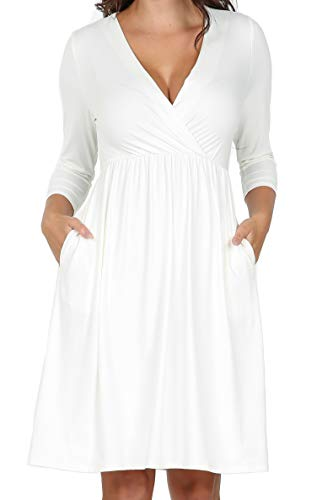 iliad USA P1146 Womens 3/4 Sleeve Empire Waist Casual Dress Off-White 1X_Plus
