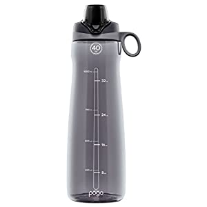 Pogo BPA-Free Plastic Water Bottle with Chug Lid, Grey, 40 oz.