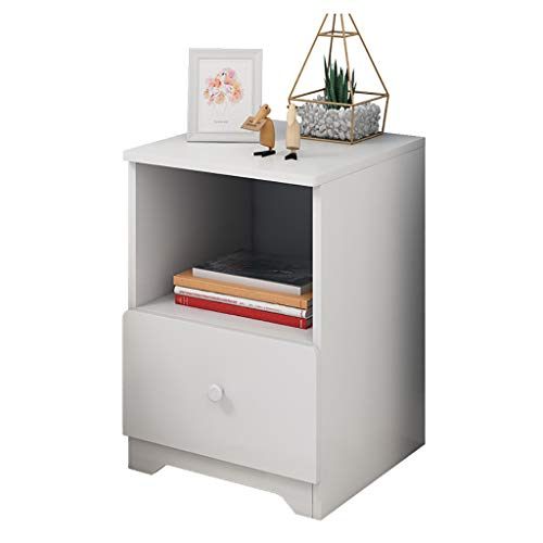 - m·kvfa Modern Assemble Storage Cabinet Bedroom Bedside Locker Double Drawer Nightstand Bedside Side Table for Living Room School Home Office (White)