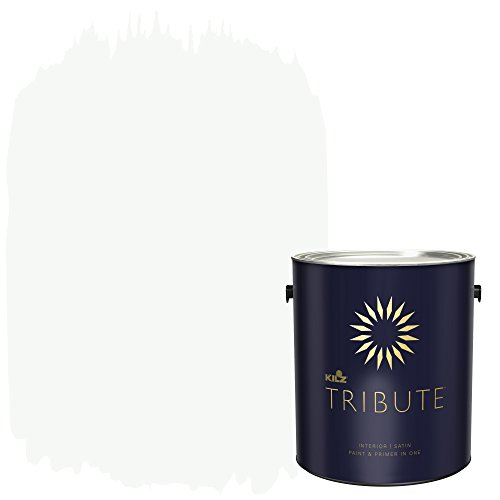 KILZ TRIBUTE Interior Satin Paint and Primer in One, 1 Gallon, Ultra Bright White ()
