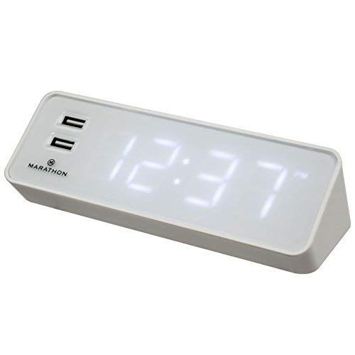 - MARATHON CL030055WH LED Alarm Clock with Two Fast Charging, Front Facing USB Ports