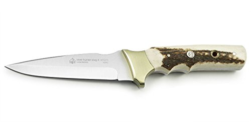 Puma IP Steel Hunter Stag II Fixed Blade Hunting Knife with Stag Horn Handle & Leather Sheath 811271