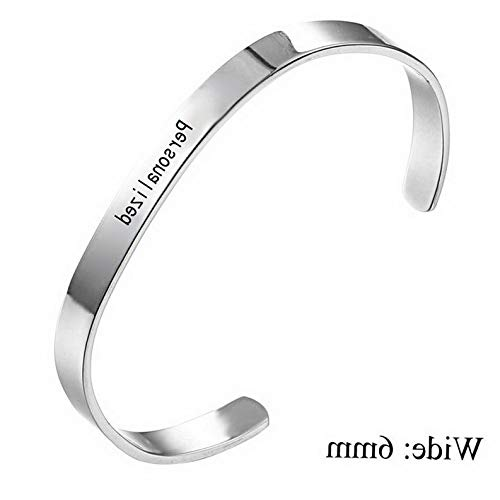 (Gatton Personalized Custom Letter Name Symbol Stainless Steel Cuff Bracelet Bangle Gift | Model BRCLT - 43980)