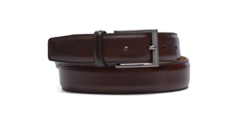 Magnanni Men's Belt Hand Burnished Calf Leather 1078 Midbrown