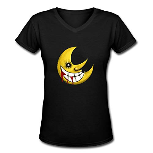 Arilce T Shirt,Soul-Eater-Moon Tees V Neck Women's Blouse Black XL ()
