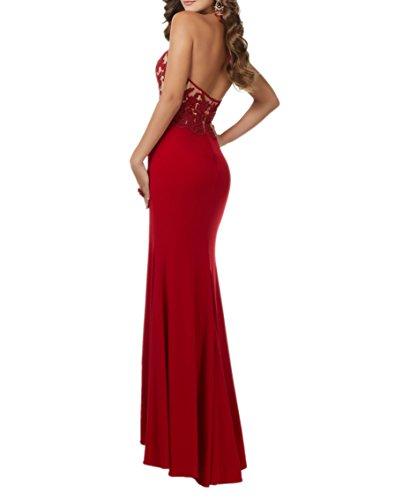 Etuikleider Charmant Rot Lang Spitze Damen Abschlussballkleider Glamour Abendkleider Chiffon Promkleider xw7SZUFwq8
