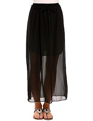Chigant Women Chiffon Long Skirt With Drawstring Floral Pirnt Maxi Skirts