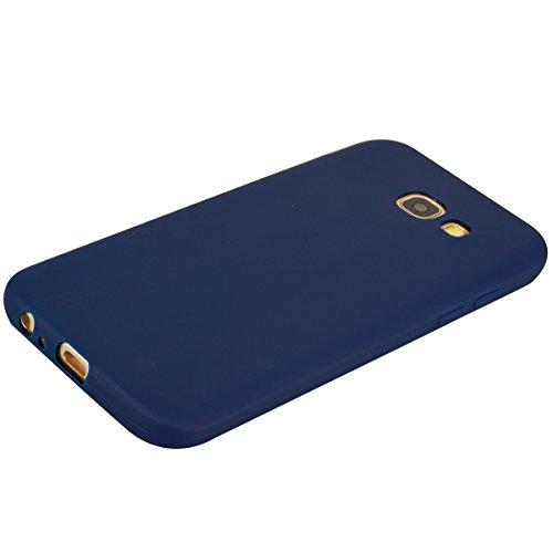 Funda Galaxy A5 2017 Carcasa para Samsung A5 2017 Silicona Anfire Suave Flexible gel TPU Case para Samsung galaxy A5 2017 (5.2 pulgadas) Ultra Delgado Mate Goma Protectora Bumper Tapa Anti Rasguños An Azul