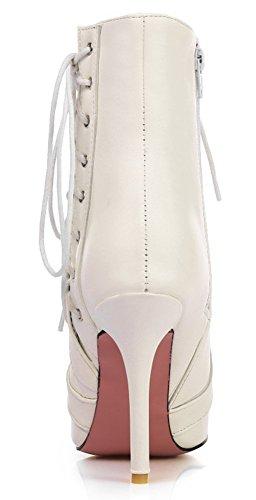 Aisun Damen Sexy Spitz Zehe Schnürsenkel Stiletto Reißverschluss Kurzschaft Stiefel Weiß