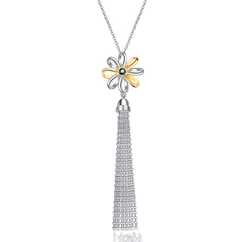 for Women Sterling Silver Daisy Flower Chain Tassel Fringe Sweater Necklace with Swarovski Element Crystal ()