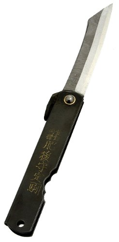 Higo no Kami 7 Pocket Knife by Nagao Seisakusho, Parkerized Black Satin Finish (The Best Samurai Sword Maker In The World)