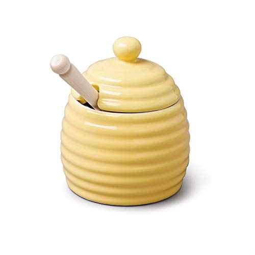 (Porcelain Beehive Honey Pot with Lid & Spoon in Yellow by CKS)