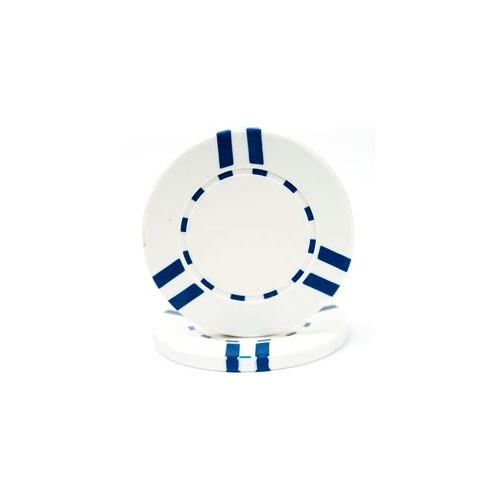 Trademark Poker Dual Striped Clay Composite 50 Poker Chips, 10gm, White