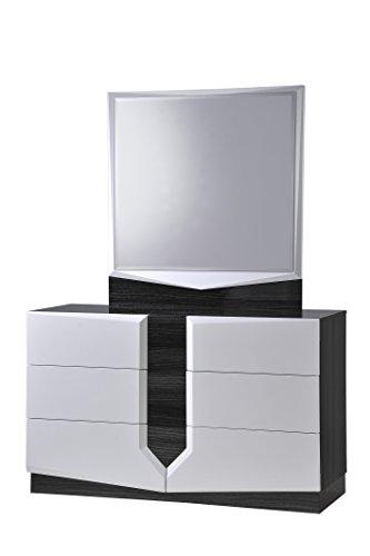 Global Furniture Hudson Mirror, Zebra Grey and White