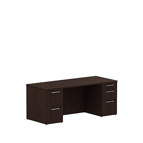 Bush 72'' Double Pedestal Desk 71.1''W X 29.6''D X 29.1''H Features Two Box Drawers & Three File Drawer - Natural Maple