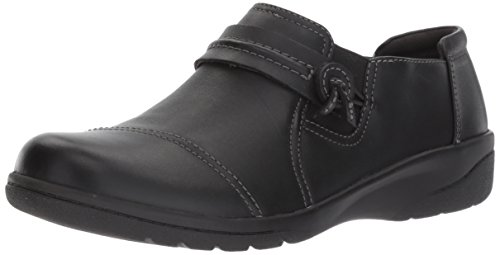 Clarks Women's Cheyn Madi Loafer, Black Smooth Leather, 8 M US