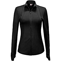 Regna X Women's Full Zip Up Slim fit Light Fitness Soft Track Jacket Black L