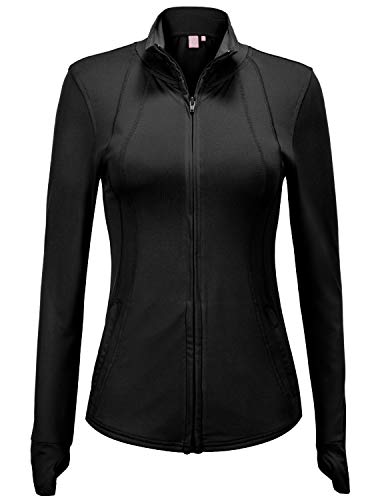 (Regna X Women's Full Zip Up Lightweight Active Sports Track Jacket Black M)