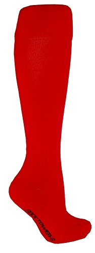 SockTower Women's Unisex Sports Athletic Cushion Crew Team Field Baseball Softball Cotton Terry Knee High Socks-shoe Size 6-13 Red